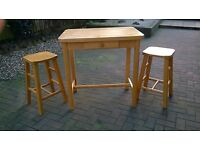 Quality Pine Breakfast Table and Two Matching Stools - Solid Wood