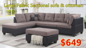 brand new fabric sectional sofa with free ottoman ON  sale