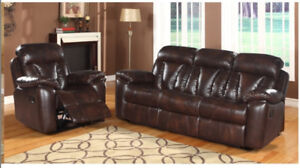 3 PCS DARK BROWN COUCH RECLINER SET FURNITURE SET SOFA SET
