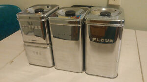 Metal containers for dried goods, baking needs etc