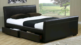 King-size leather bed and mattress with underneath 4 drawers. Good co