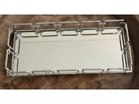 Silver Effect Mirror Tray Framed Make-Up Vanity Perfume Candle Accessory Display