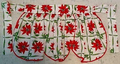 VINTAGE CHRISTMAS HALF APRON - SHORT - POINSETTIAS, GREEN RIBBON, RED BORDER