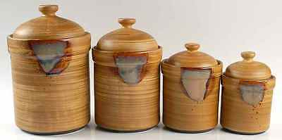 Sango Stoneware SPLASH BROWN Drip 4 Piece Canister Set on Rummage