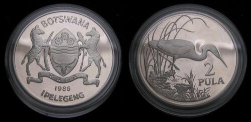 World Wildlife Fund Botswana Slaty Egret 1986 2 Pula .925 .841 Oz. ASW KM#17a