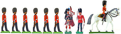 Britains Scots Guards Marching w/ Two Officers and Piper - Painted Toy Soldiers