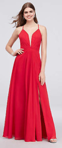 Red Chiffon Formal Gown with Deep-V and Leg Slit (Cachet brand)