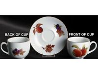 4 sets of Flat Cup & Saucer and salad plates Evesham Gold (Porcelain) by ROYAL WORCESTER