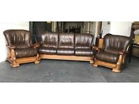 Real Wood / leather sofa set CAN Deliver
