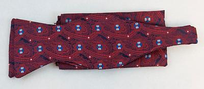 New Classic Fashion Stylish Woven Mens Bow Tie Red Paisley/Floral Matching Hanky