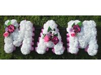 2 x Artificial Funeral Tribute Flowers 'MAM' and 'NAN' White Carnations Pink Lilac Ribbon
