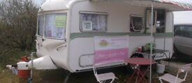 price reduced £6500 vintage catering caravan cream teas complete with marque,tables and chairs