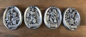 4 Collectable Pewter German Wall Plaques