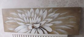 Very Large Hand Painting of a Lotus Flower 150 cm x 50 cms