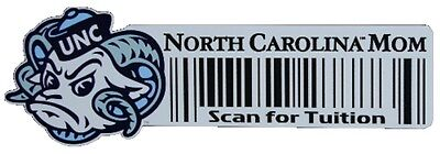 North Carolina Tarheels Mom Scan For Tuition Barcode Decal Total Closeout