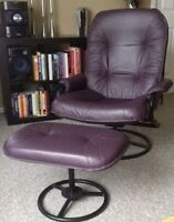 Leather lounge chair + ottoman
