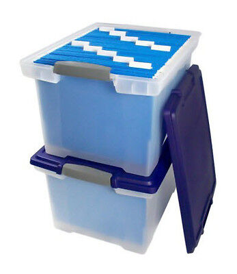 2 Pack - File Tote with Locking Handles, Clear & Blue - Storage Box - Plastic on Rummage