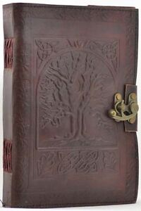 LARGE TREE OF LIFE LEATHER JOURNAL Witch Wicca Pagan Book of Shadows Goth Spell