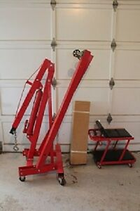 Engine crane, engine stand and adjustable creeper