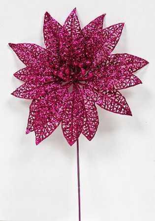 "9"" Beauty Glitter Lace Poinsettia Stems - Pkg of 12"