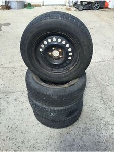 PRICE DROP: 4 Winter Tires W/ Rims - 195/70R14 Regina Regina Area image 2