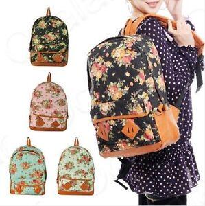 NWT-Women-Girls-Floral-Canvas-School-Book-Satchel-Travelling-Backpacks-Rucksack