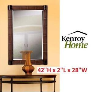 NEW KENROY HOME WALL MIRROR 60099 202465808 HOME DECOR NATURAL REED BEVELED GLASS