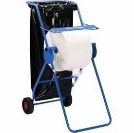 Wiper Roll Stand On Wheels With Bin Liner Holder