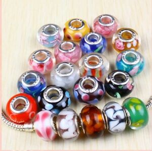 20X MURANO GLASS BEADS FIT EURO BRACELET + CHARM *XMAS*