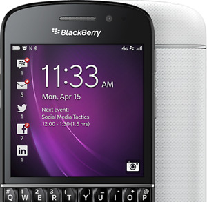 In good condition unlocked blackberry Q10 or Z10