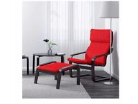2x Armchairs with matching footstool and cushions - IKEA Poang