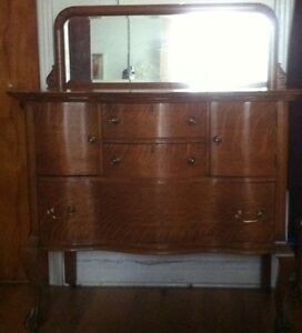 Antique Oak Buffet, Beveled Mirror, Brass Handles / Early 1900's