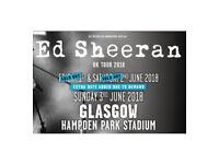 ** Ed Sheeran Tickets (x 2 Seated) - Glasgow - Sunday 3 June 2018 **