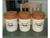 VINTAGE COLLECTION TEA SUGAR AND COFFEE CANISTERS