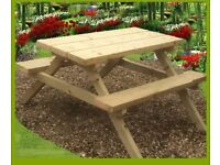Picnic Bench Heavy Duty Hand Made 1.2m/4ft 4 Seater