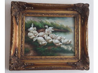 Antique goose oil painting image picture old frame Geo Rowney & Co label London