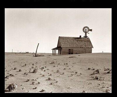 1938 Texas DUST BOWL PHOTO Great Depression Farm House,Windmill DUST STORM