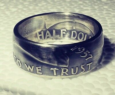 1962 Sizes 8   15 Silver Half Dollar Coin Ring   In God We Trust    Liberty