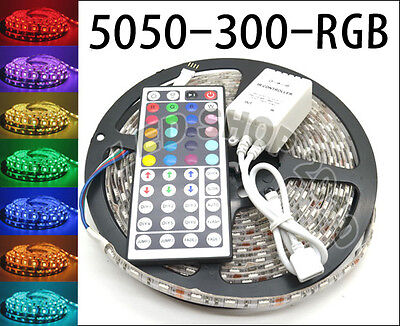 5M 5050 RGB SMD Flexible Strip LED Light Waterproof 300 LEDs + 44 Key IR Remote on Rummage