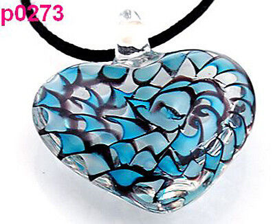 Abstract Heart Necklace - 1pc heart art abstract lampwork glass  necklace p0273