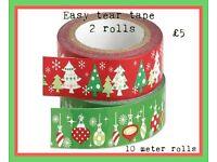2 x 10 metre rolls of easy tear Christmas easy tear tape
