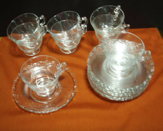 8 sets of vintage antique Fostoria Century clear cups and saucers