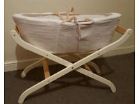 Moses Basket on White Stand