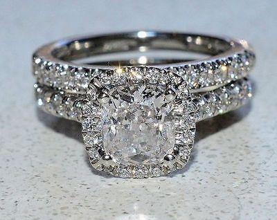 2 50Ct  Cushion Cut Diamond Halo Bridal Set Engagement Ring 14K White Gold Over