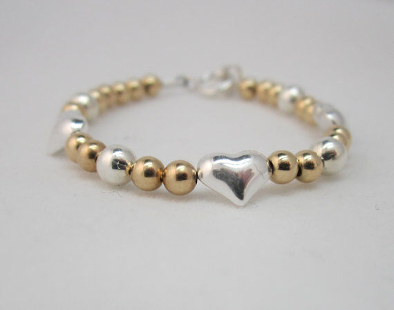 14kt Gold filled Beads with Sterling Silver Hearts Bracelet
