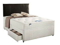 Single/Small Double/Kingsize Divan Bed Base with 12inch Extrafirm Orthopedic Mattress- Brand New