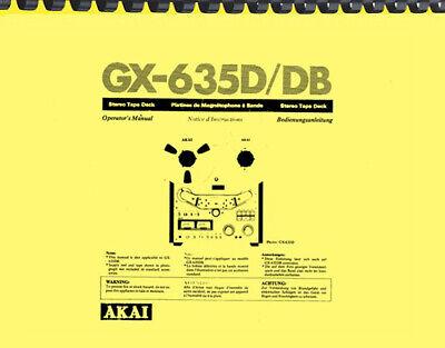 Akai GX-635D GX0635DB Tape Deck OWNER'S MANUAL and SERVICE MANUAL
