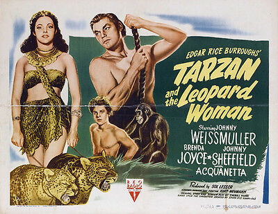 TARZAN AND THE LEOPARD WOMAN Movie POSTER 30x40 Johnny Weissmuller Brenda Joyce