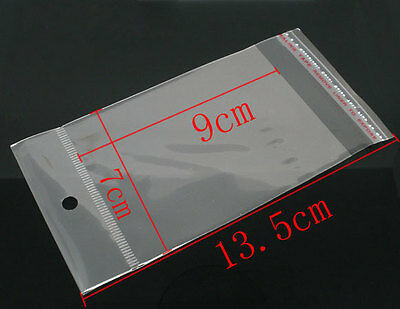 200 X Clear Self Adhesive Cello Bag With Hole Jewellery Display 13.5cm X 7cm Q90