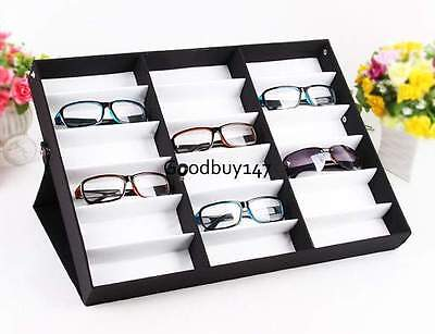 Black 18 Pair Quality Eyeglass Sunglass Glasses Storage Display Case Box Sale